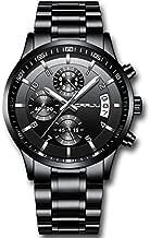 CRRJU Men's Watch Fashion Business Chronograph Quartz Wristwatches,Luxury Stainsteel Steel Band Waterproof Watch for Men Black dial
