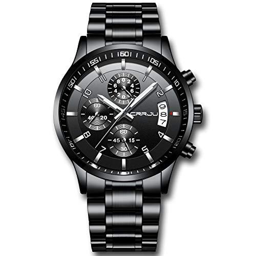 CRRJU Relógio de pulso masculino multifuncional com cronógrafo de seis pinos, pulseira de aço Stainsteel à prova d'água, Black Black