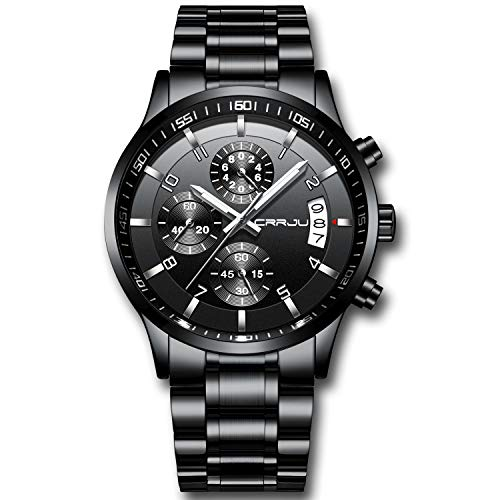 CRRJU Men's Watch Fashion Business Chronograph Quartz Wristwatches,Luxury Stainsteel Steel Band Waterproof Watch for Men Black dial