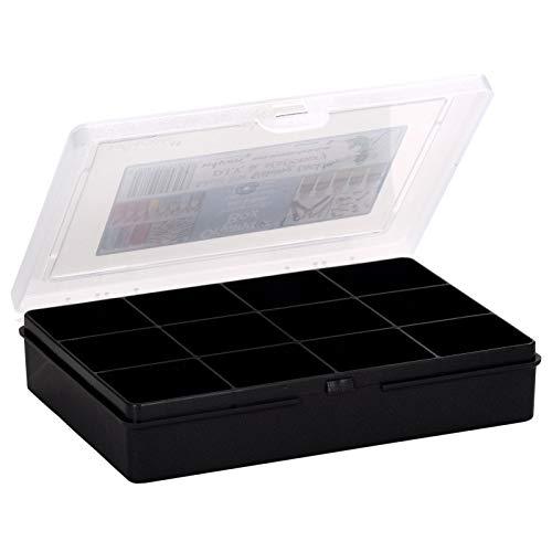 Sortierbox 19x15x4cm mit 12 Fächer Schwarz transparenter Deckel recycelter Kunststoff Aufbewahrungsbox Kleinteile Kleinteilemagazin Sortierkasten Organizer Magazin klein Perlenbox Hobby DIY Nähen