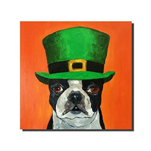 WunM Studio olieverfschilderij op canvas handgeschilderd, modern grappig dierschilderij, groene muts hond hoofd, abstract luxe grote muur kunst decoratie voor huis woonkamer slaapkamer kantoor hotel 90×90 cm