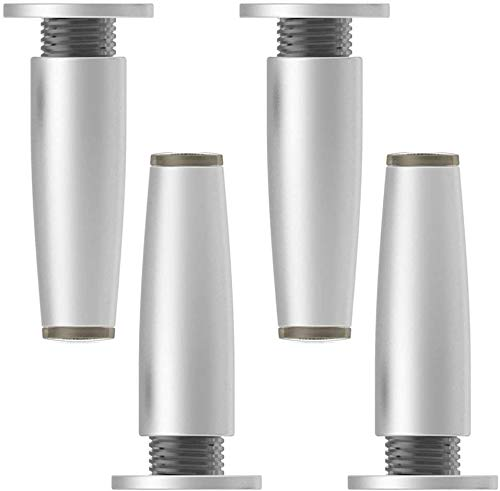 hrpay 4 Piece Furniture feet, Metal Table Legs, Base Foot, zinc Alloy, Adjustable 1.4 cm / 0.55 inches, Replacement Legs for Sofa Cabinet Coffee Table (100mm, White)
