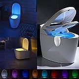 HUXULU Toilettenlicht USB Wiederaufladbare Toilette Licht Bewegungsmelder 8 Farben Hintergrundbeleuchtung Für Toilettenschüssel Smart Night Light Für Badezimmer