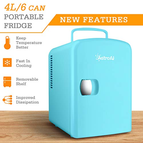 Bedroom and Travel Teal Medications AstroAI Mini Fridge 4 Liter//6 Can AC//DC Portable Thermoelectric Cooler and Warmer for Skincare Breast Milk Foods