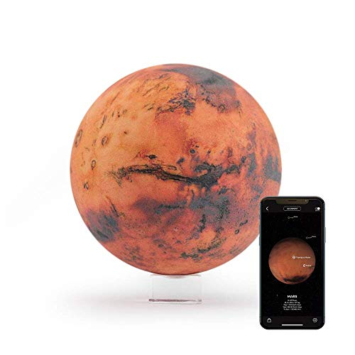 """AstroReality: Mars Pro Smart Globe, 3D Printed Planet Model with Augmented Reality App, NASA Sourced Extreme Precision Topography, 4.72"""", Stunning Decor Piece for Home, Perfect STEM Gift"""
