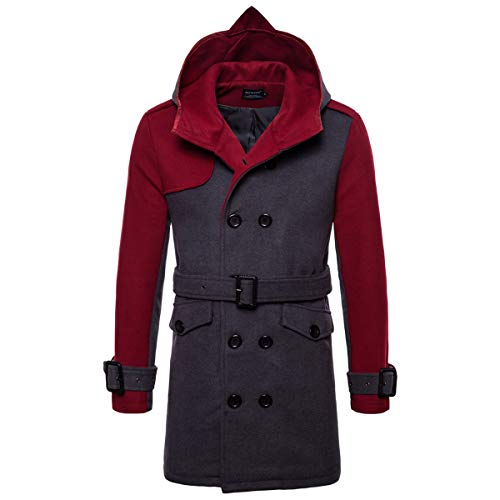 AOWOFS Men's Winter Mid Long Wool Blend Coat Double Breasted Warm Overcoat Stitching Color Trench Coat Wine Red