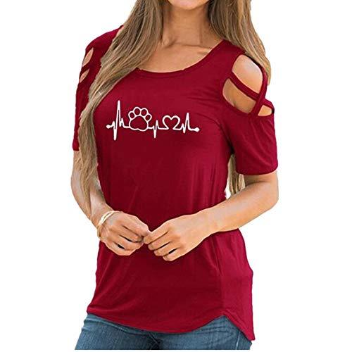 x8jdieu3 Summer Street Round Neck Pullover HerzföRmig Bedrucktes KurzäRmeliges TräGerloses Damenhemd T-Shirt