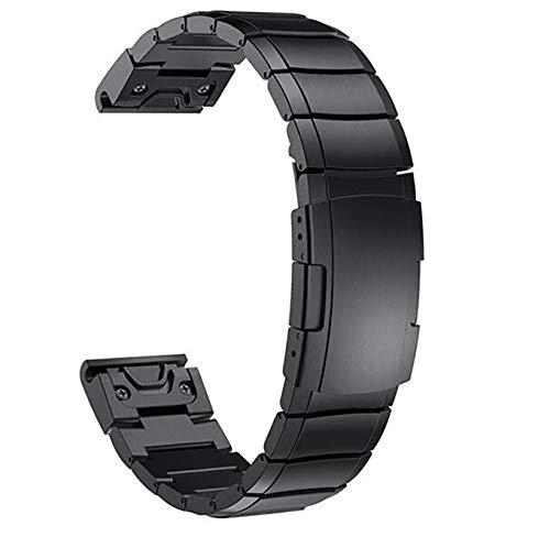 Love+djl Bracelets de Montre, CompatibleQuick Fit Bandes Montre for Compatible Garmin Fenix 5 / Fenix 3 HR Fenix 5S / 5X Plus Montre en Acier Inoxydable Sangle De (Color : Black, Size : 26mm)