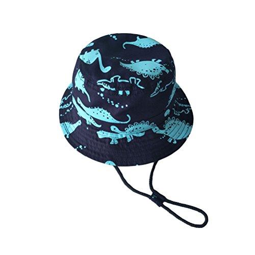 Tinksky Mütze Kinder Sonnenhut breiter Krempe Hut mit Kinnriemen Sommer Kappe (54cm)