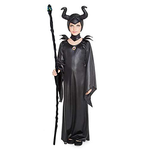 Disfraz Bruja Maléfica Niña (Talla Infantil Desde 3 a 12 años) 【Talla 10-12 años】| Traje Cosplay Hada Bruja Fantasía para Fiestas Carnaval Halloween Cumpleaños