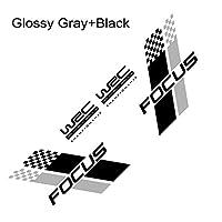 HXKGSMG カーファッションデカールステッカーカバーキズオートレーススポーツスタイリングビニールフィルムデカールカー両面ボディステッカースタイリッシュ。 にとってフォードフォーカス23 MK2MK3カーチューニングアクセサリー用 (Glossy Black Gray)