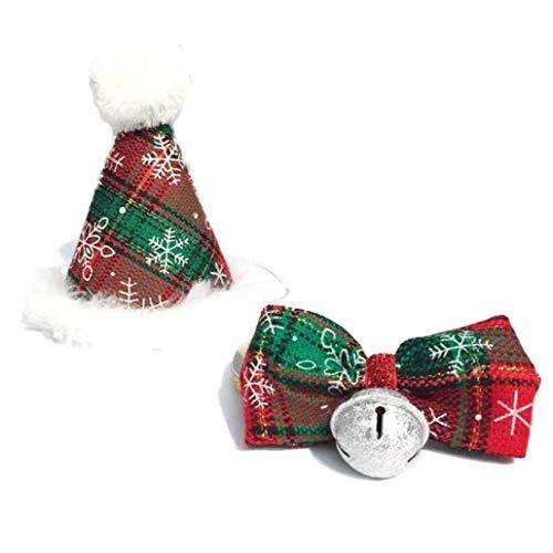 shentaotao Weihnachten Pet Hut Und Fliege Kragen Set Mit Pom-pom Topper Pet Kegel Cap Für Katzen-kätzchen Cosplay-kostüm-zusatz