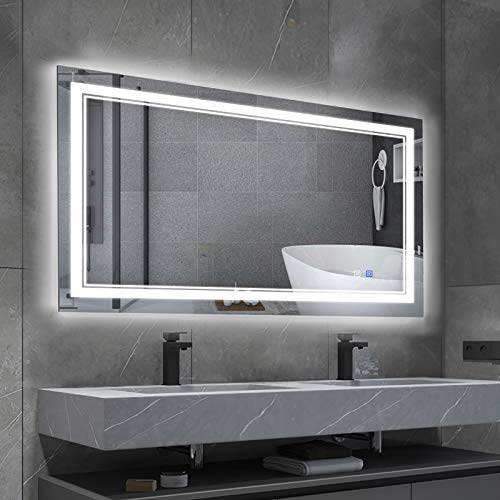 BBE 40 x 24 Inch LED Bathroom Wall-Mounted Mirror Anti-Fog Makeup Mirror with Dimmable Light and Touch Button(Horizontal/Vertical)