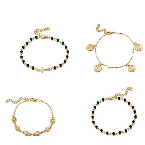 mengnuo 4 unids/Set Pulseras con Cuentas Coloridas encantos Cruz Hueco geométrico Cadena Colgante Accesorios de Mujer