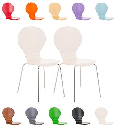CLP Set 2X Sillas de Visita Diego Apilable I Juego de 2X Silla de Comedor con Asiento de Madera I 2X Silla de Cocina con Base de Metal I Color: Blanco