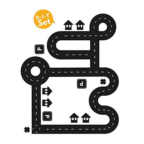 Y001 Spielfolie für Kinderzimmer Straßenmotiv für Spielzeugautos (S - Klein)