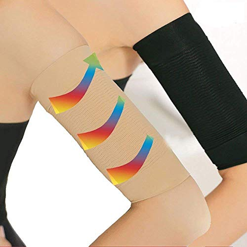 2 Pair Arm Slimming Shaper, Arm Compression Sleeve Weight Loss Upper Arms Sleeve for Women - Black, Beige