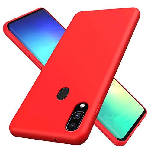 HUOTAI Funda para Samsung Galaxy M20 Líquido de Silicona Carcasa Anti-Huella Digital Suave Almohadilla Forro Tela Microfibra, Silicona Gel Cover Case para Samsung M20 - Rojo