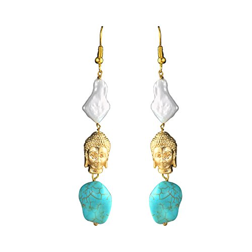 Moonstruck Pearl and Turquoise Buddha Long Dangle Earrings for Women