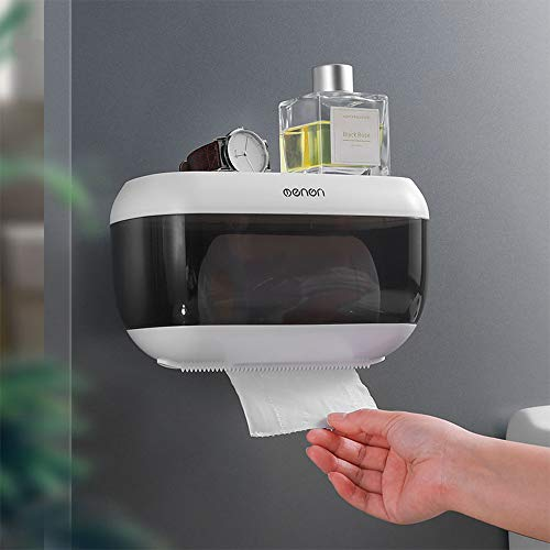 Portarrollo para Papel Higiénico, Impermeable Dispensador de Toallas de Papel Manual Autoadhesivo, para baño Papel para Cocina doméstica con el Teléfono Móvil Estante de Almacenamiento