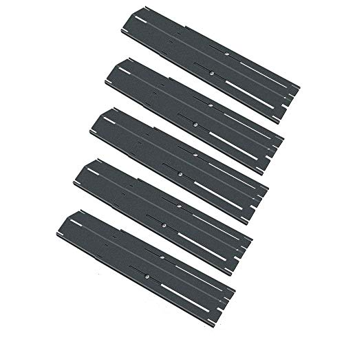 Uniflasy Universal Adjustable Porcelain Steel Heat Plate Shield, Heat Tent, Flavorizer Bar, Burner Cover, Flame Tamer for Brinkmann, Charbroil, Nexgrill, Backyard, Extend from 11.75 to 21 Inch, 5PK