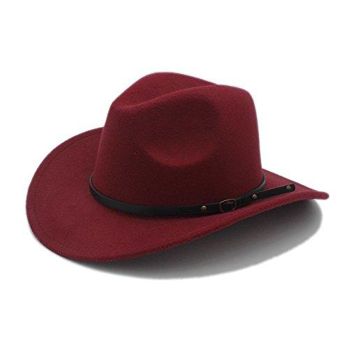 L.L.QYL Cap Männer Western Cowboy Hut Für Gentleman Cowgirl Jazz Church Cap Mit Leder Toca Sombrero Cap Resistol Cowboy Hüte Kopfschmuck (Farbe : 6, Größe : 57-58CM)