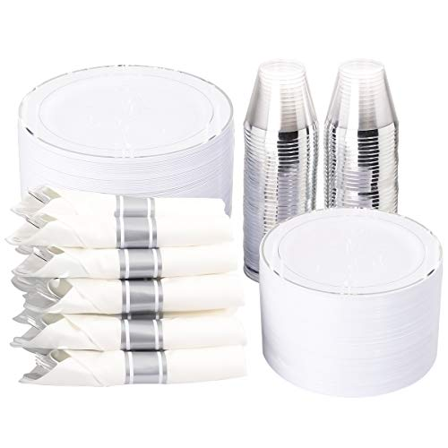 """350 Pieces Silver Plastic Plates with Disposable Silverware and Cups, Include: 50 Dinner Plates 10.25"""", 50 Dessert Plates 7.5"""", 50 Silver Rim Cups 9 OZ, 50 Per Rolled Napkins with Silver Cutlery"""
