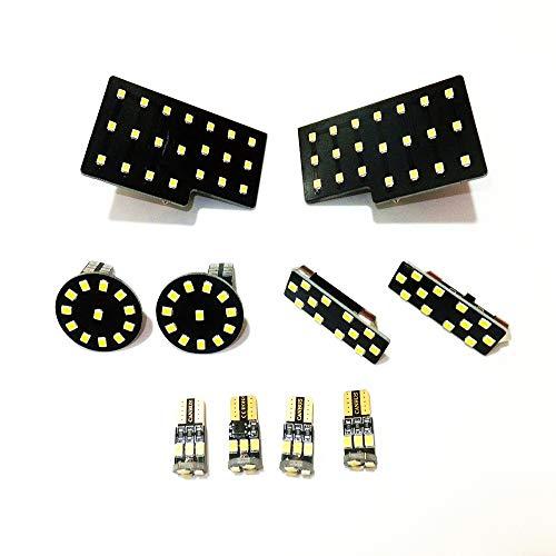 July King 10 Pcs LED Voiture Intérieur Lumières De Lecture Read-A-Q5-10 Pour Q5, 2835SMD 6000K blanc, 4 phares avant à dôme + 4 plafonniers à l'arrière