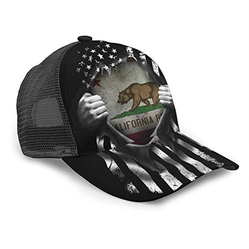 Inaayayi Gorra de béisbol unisex de California Historic Bear Flag Pull Apart Mesh Trucker Gorras para hombres y mujeres ajustable Strapback negro
