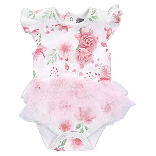 Rock A Bye Baby Mädchen Bodykleid   Motiv: weiß rosa Blumen   2 in 1 Body & Kleid für Neugeborene & Kleinkinder   Größe: 3-6 Monate (68)