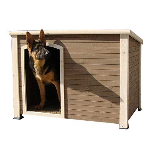 Casetas para Perros Casa para Perros Grande Al Aire Libre Anticorrosivo Impermeable Casa De Perro De Madera Maciza Perrera Jaula para Perros Techo Plano para Perros Grandes