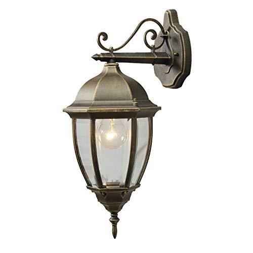 MW-Light 804020201 Applique Extérieure Style Classique en Métal couleur Or Patiné Abat-jour en Verre pour Jardin Terrasse IP44 1x95W E27