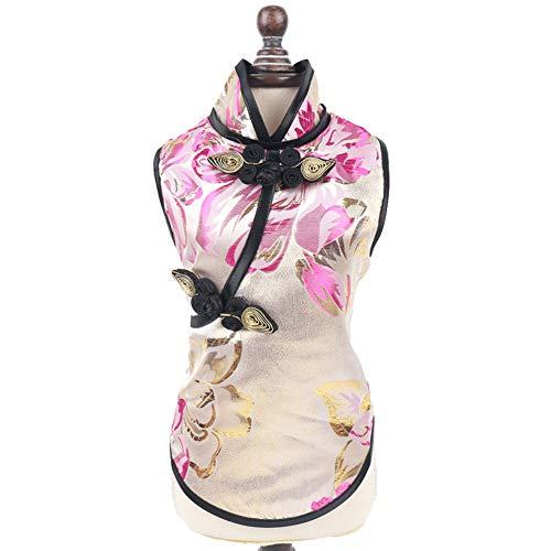 Traje de Mascotas Elegancia clásica Estilo Chino con un Hermoso y Delicado Estampado de Flores decoración Camiseta Ropa