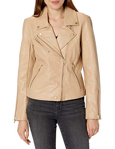 [BLANKNYC] womens Vegan Leather Moto Jacket, Natural Light, Small US