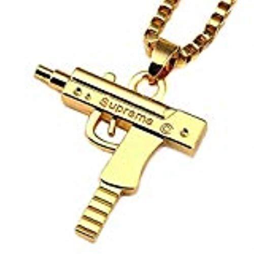 esenzione Fashion argento placcato oro 18K uomo hip-hop Mitragliatrice collana catena box 61cm pollici pistola ciondolo Boy Girl (oro)