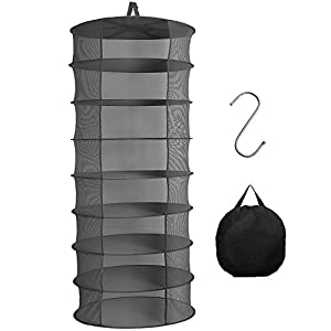 Herb Drying Rack, 8 Layer 2ft Gray Herb Dryer, Hanging Drying Net for Herbs Petals Plants Vegetables Fruits