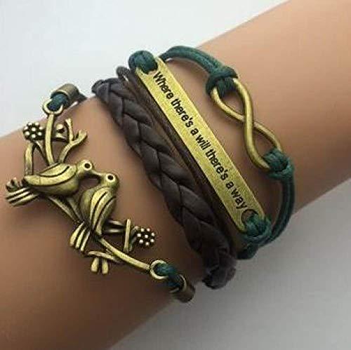 Damen Lederarmband,Vintage Leder Geflochten Armreifen Zweig Vogel Multilayer Hand Braun Charme Bracelets Persönlichkeit Männer Jungen Frauen Gewebt