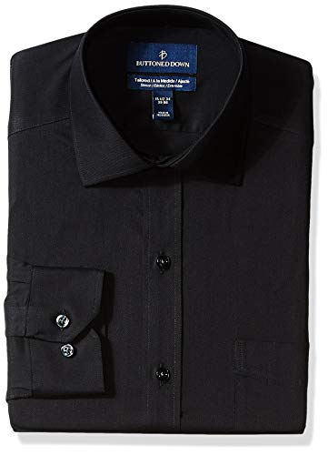 Amazon Brand - Buttoned Down Men's Tailored Fit Stretch Twill Non-Iron Dress Shirt, Black, 16.5