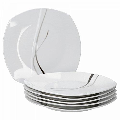 Van Well 6er Set Dessertteller Silver Night, Kuchenteller, Kleiner Speiseteller, 185 x 185 mm, Servierteller, Porzellan, abstraktes Dekor, Gastro-Geschirr
