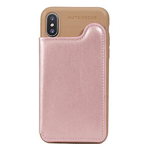Suhctup Coque Compatible pour Samsung Galaxy Note 9 Silicone Fine et Légèr Portefeuille Etui Housse de Protection avec Porte-Carte de Crédit en Cuir,arrière magnétique Cover(Or Rose)