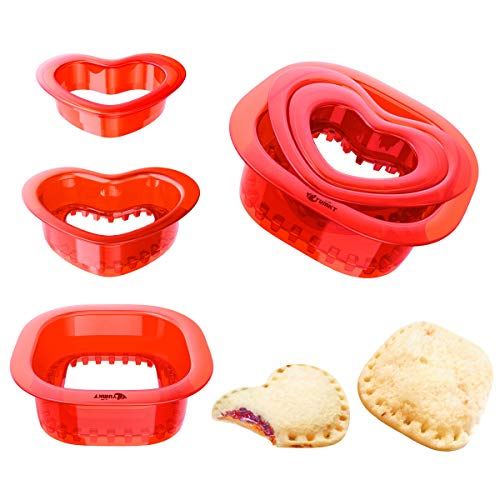 Yumkt 3 PCS Sandwich Cutters Set of 2 Square Heart Star Sandwich Cutters and Sealer for Kids Boys Girs (Square + Heart,Red)