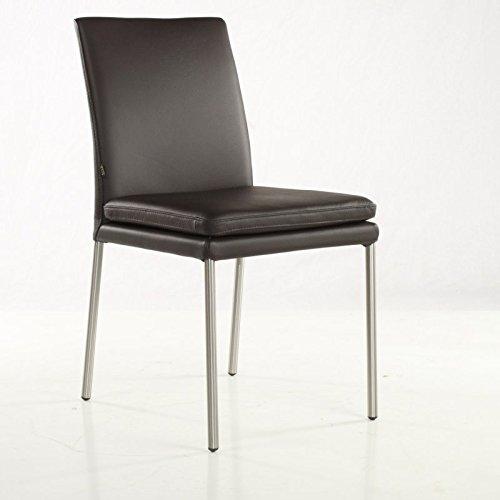 SIX Lederstuhl Ricco Stühle Echtleder Braun Leder-Stuhl Lederstühle Edelstahl
