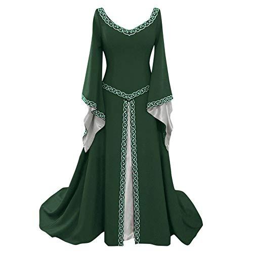 iYmitz Damen Langarm Kleid V-Ausschnitt Mittelalterlich KleiderBodenlang Cosplay Elegante Kleid mit Warmer Stola Kostüm …