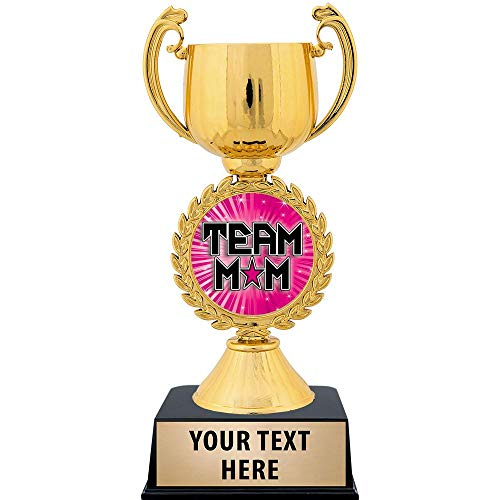 """Crown Awards Personalized Team Mom Trophy, 7.25"""" Gold Cup Team Mom Trophies with Free Custom Engraving 1 Pack Prime"""