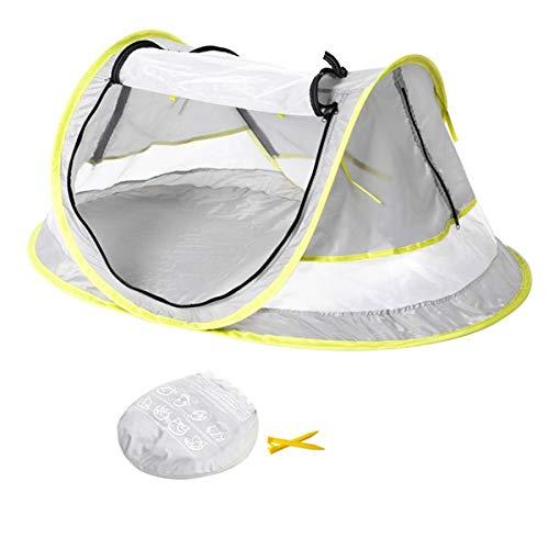 Carpa de playa para bebés con sombrero de protección solar de ala, carpa de viaje portátil para bebés con protección solar UPF 50+ Refugios solares para bebés, pantalla plegable para cama al aire