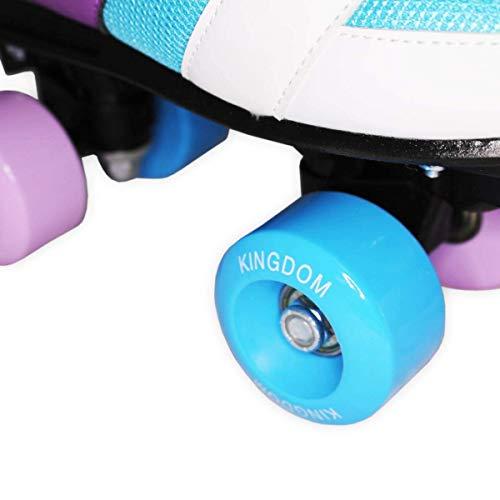 Kingdom GB Candy Quad Wheels Roller Skates (13 Child UK, Purple Blue)