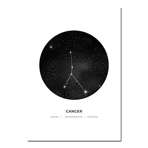 QZQ Sternbilder Kindergarten Wandkunst Leinwand Malerei Sternzeichen Astrologie Zeichen Schwarz Weiß Poster Drucken Nordic Kinder Dekoration Bilder Kein Rahmen@A4 21x30cm_Krebs