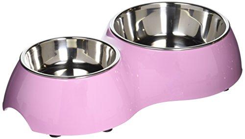 Dogit Metallnäpfe im Doppelnapf in pink 400 ml