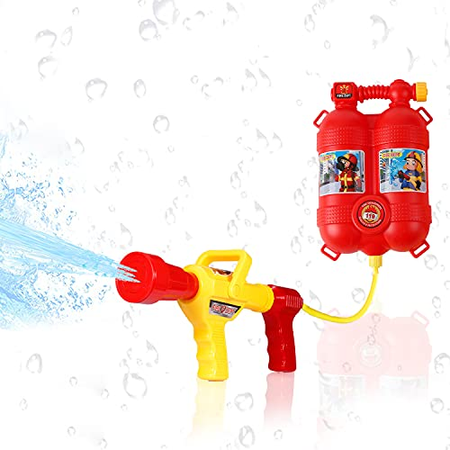 Staright Fireman Toys Mochila Extintor de Juguetes de pulverización de Agua con Boquilla y Juego de Tanques Niños al Aire Libre Playa de Agua Juguete para niños Regalos
