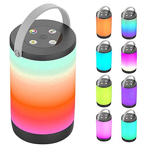 Iriisy RGB Colores Lámpara de Mesita de Noche, 8 Colores Luz Nocturna con Control, Iluminación de 360 grados, para Bar , Hogar, Dormitorio, Camping
